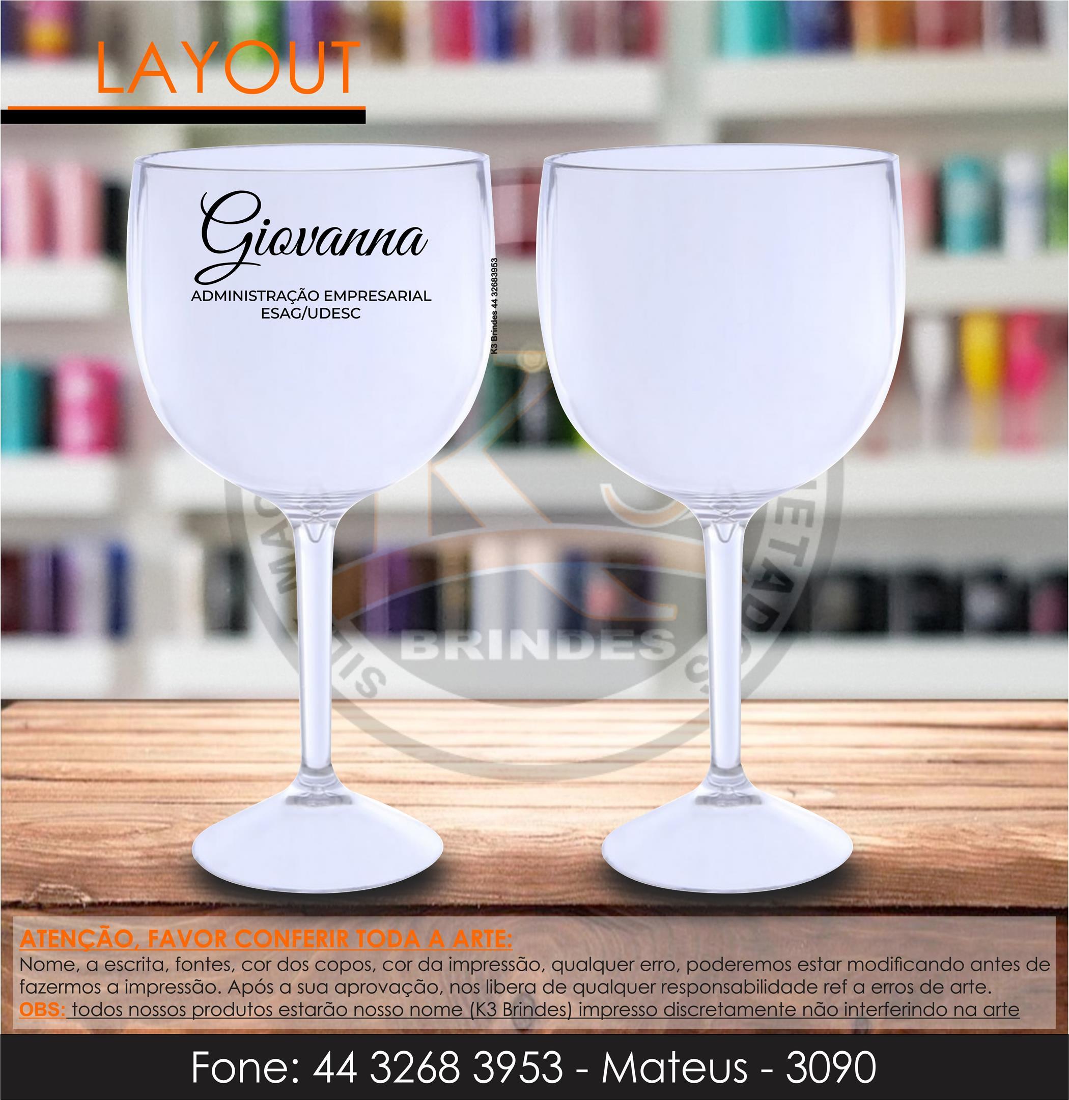 3090 - taça de gin cristal - administração - formatura - adm