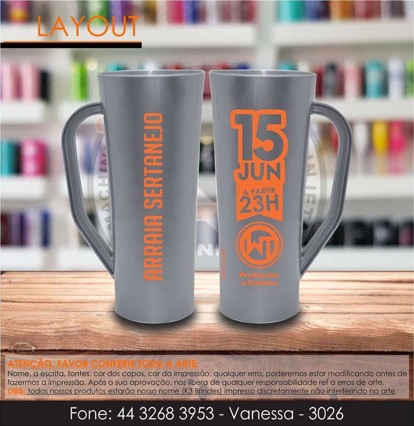 3026 - caneca long prata e laranja - arraia sertanejo