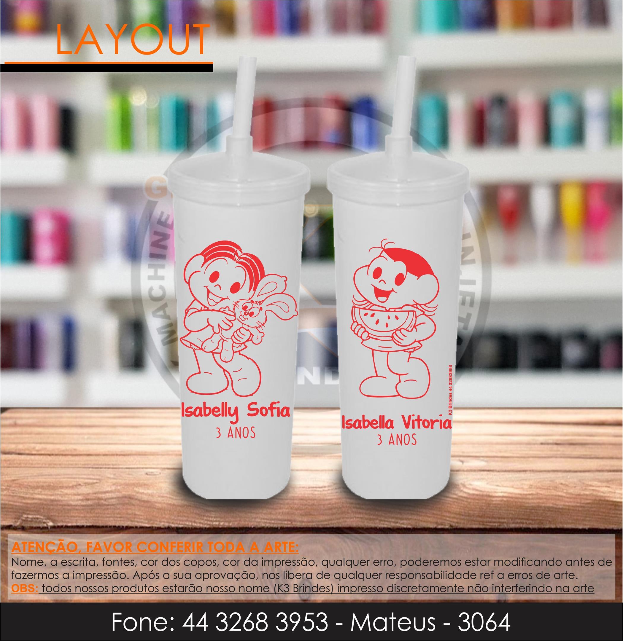3064 - long drink branco com tamapa - monica e magali - infantil - 3 anos