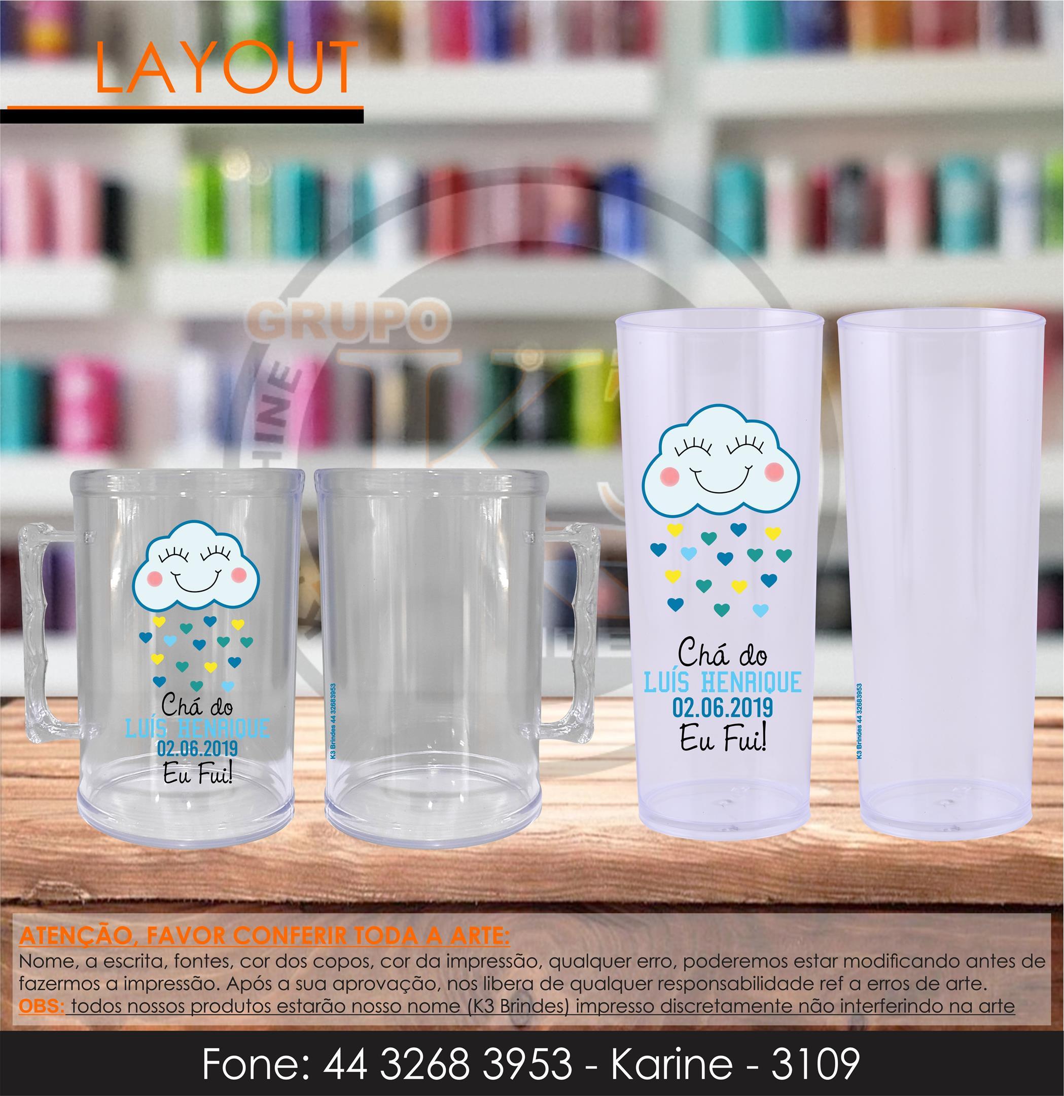 3109 - caneca cristal e long drink cristal - chuva de amor - transfer - infantil -