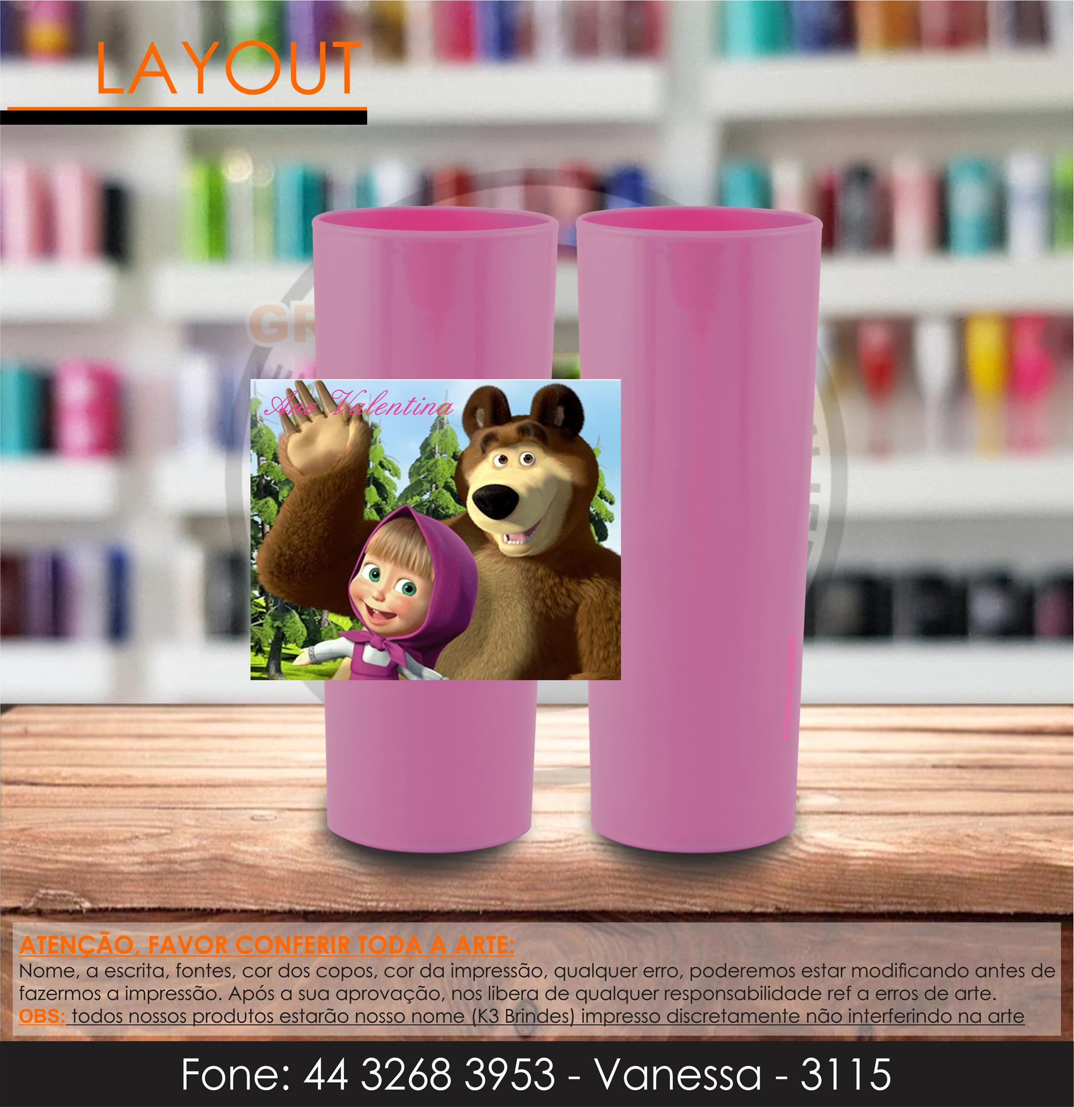 3115 - long drink rosa perolizado - masha e urso - infantil