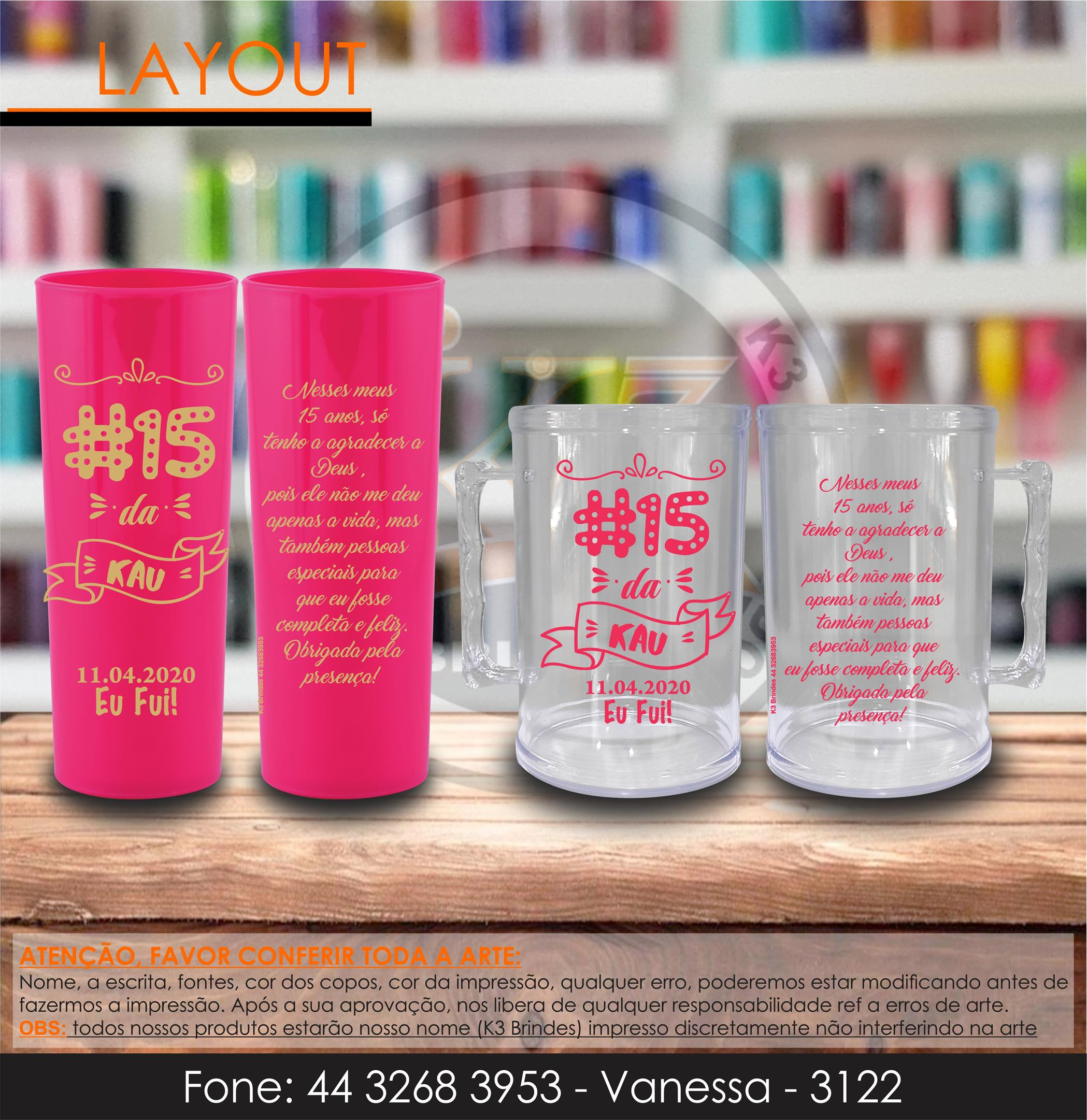 3122 - long drink rosa fluor - caneca cristal - #15 anos