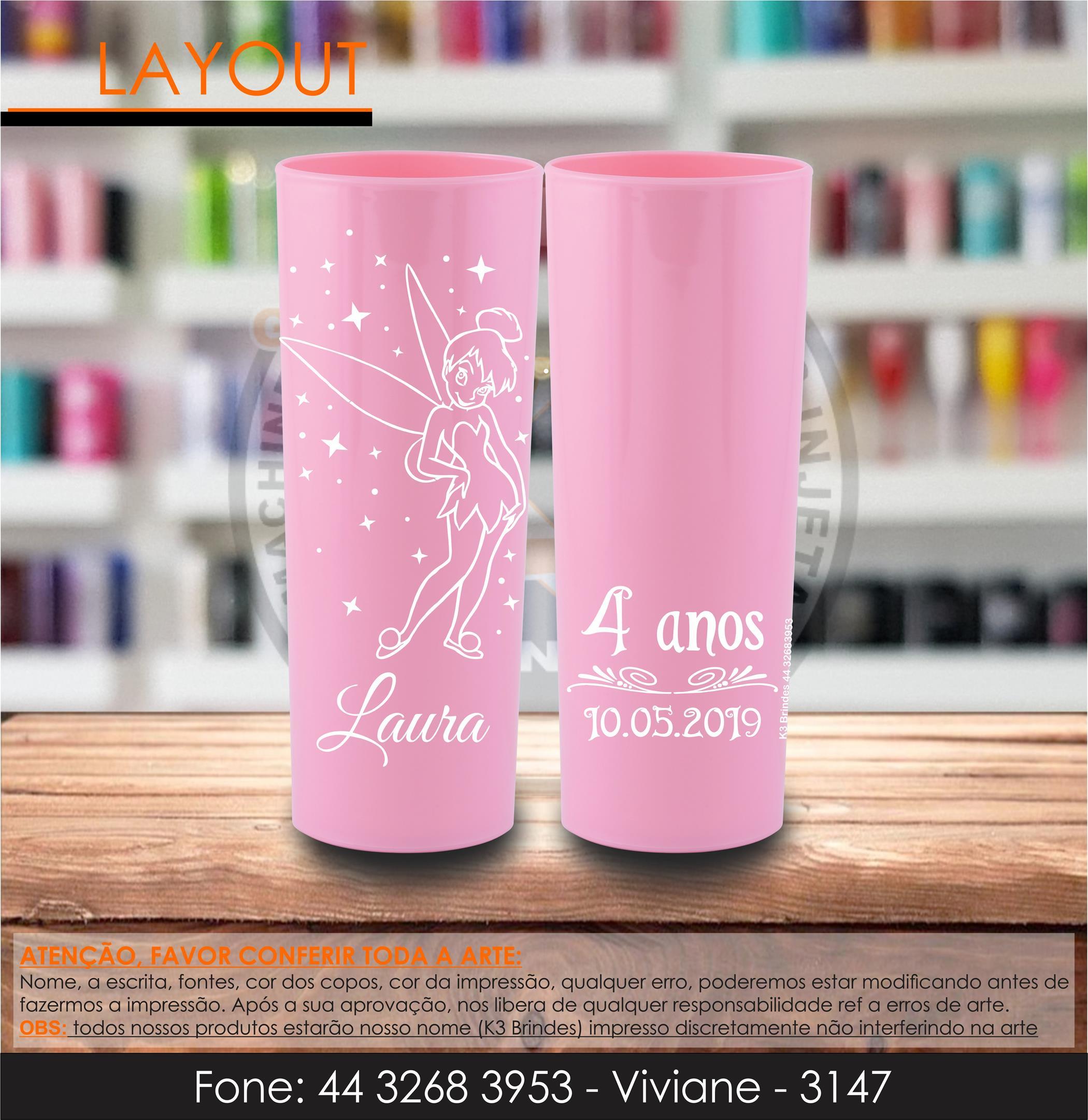 3147 - long drink rosa bebe - tinker beel - sininho - petter pan - 4 anos - infantil